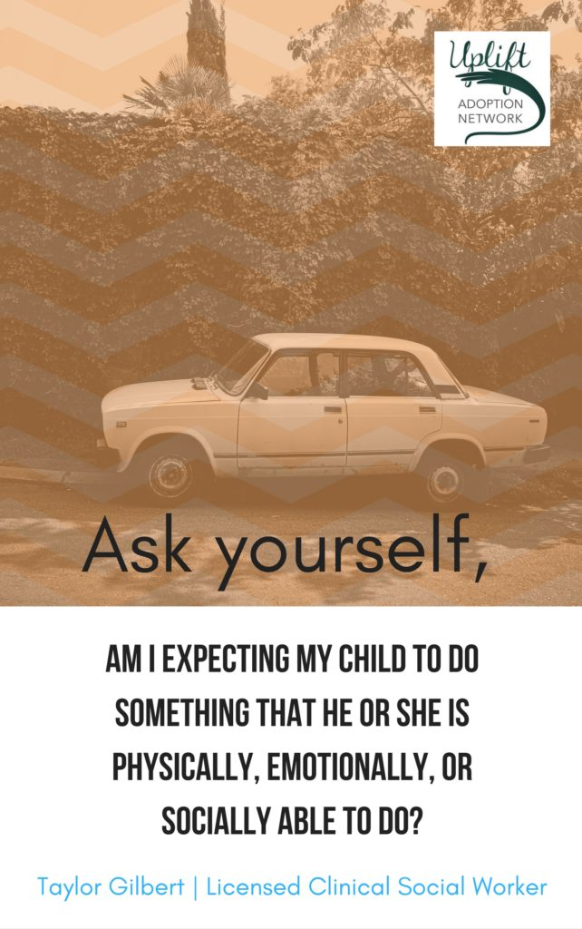 Ask yourself if you are expecting something the child is not able to do.